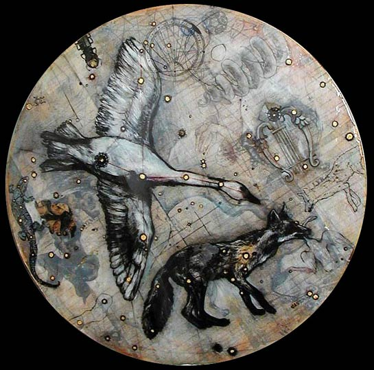 Cygnus, 2006, Mixed Media/Panel, 24&quot diameter