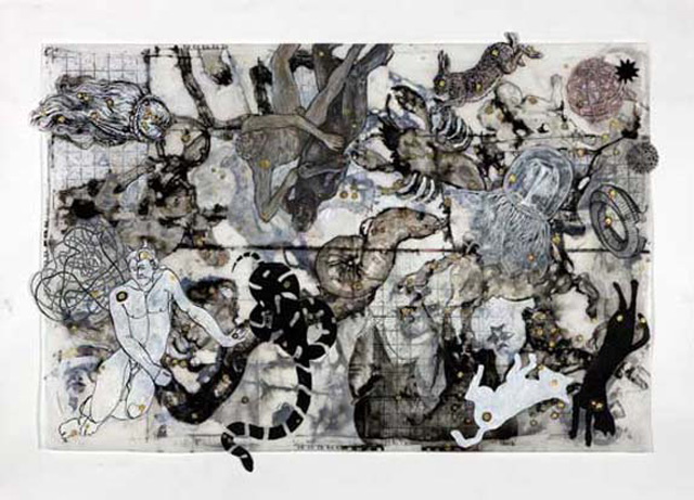 Star Map, 2009, Mixed Media/Drafting Film, 31 x 42&quot