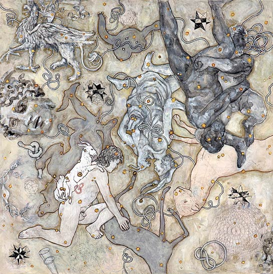 Goatherd (Gordian Knot), 2009, Mixed Media/Clayboard, 30 x 30&quot