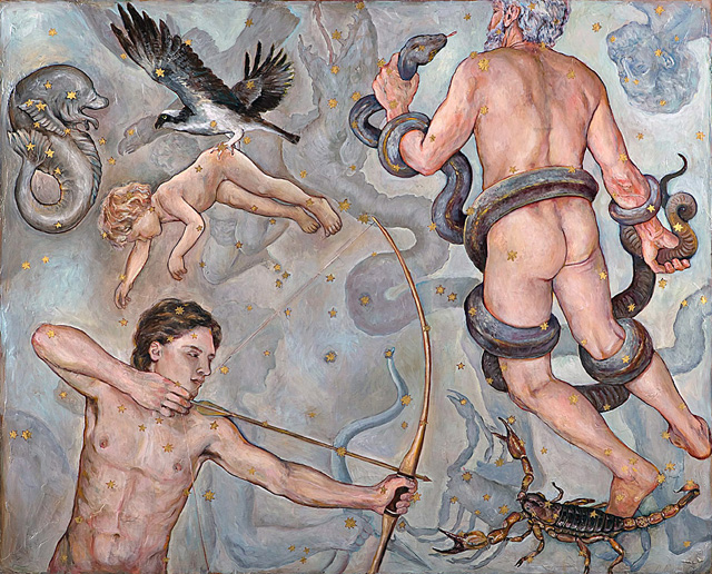 Saggitarius (Ages of Man), 2008, Oil + Gold Leaf/Panel, 48 x 60&quot