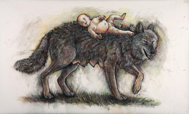 Portage: She Wolf with Baby, 2006, Mixed Media/Drafting Film, 42 x 72&quot