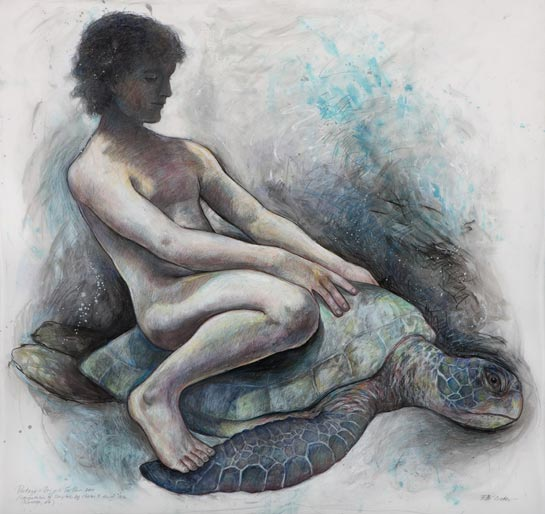 Portage: Boy on Turtle (Interpretation of sculpture by Charles Y. Harvey,  <br/> Worcester, MA 1912), 2010, Mixed Media/Drafting Film 33 x 38&quot