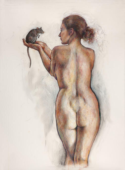 Portage: Woman with Rat, 2013, Ink, Graphite, Colored Pencil/Drafting Film, 55 x 42&quot