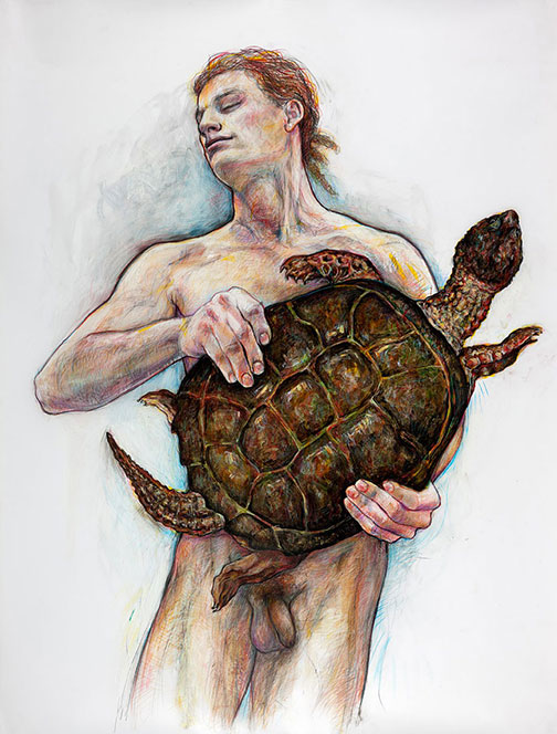 Portage: Man with Turtle, 2014, Ink, Gouache, Acrylic, Colored Pencil, Graphite/Drafting Film, 55 x 42&quot