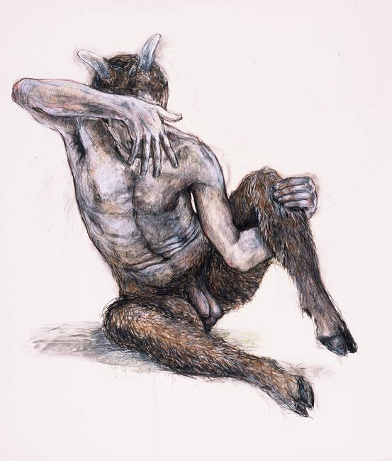 Satyr, 2002, Mixed Media/Drafting Film, 48 x 42&quot