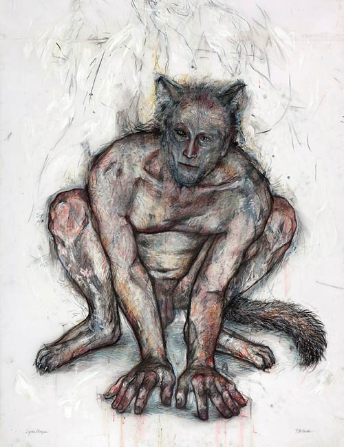 Lycanthrope, 2010, Mixed Media/Drafting Film, 55 x 42&quot