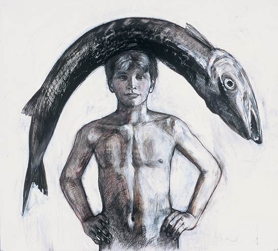 Boy with Fish, 1999, Mixed Media/Drafting Film, 39 x 42&quot