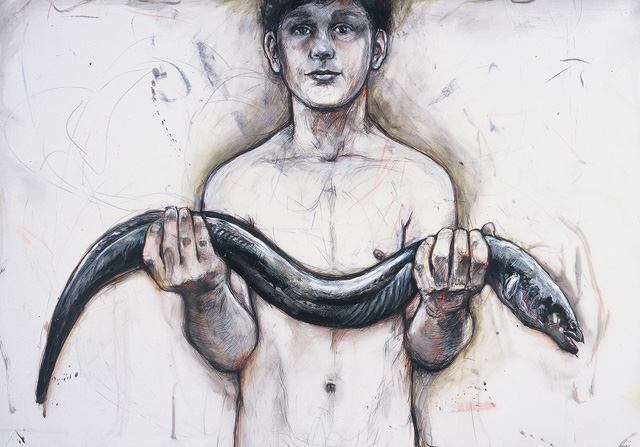 Boy with Eel, 1998, Mixed Media/Drafting Film, 28 x 39&quot