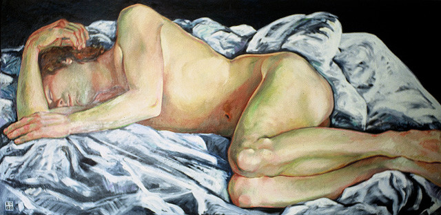 Sleeper, 1988, Oil/Canvas, 34 x 70""
