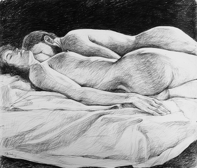 Sleepers III, 1989, Pencil/Paper, 42 x 48""