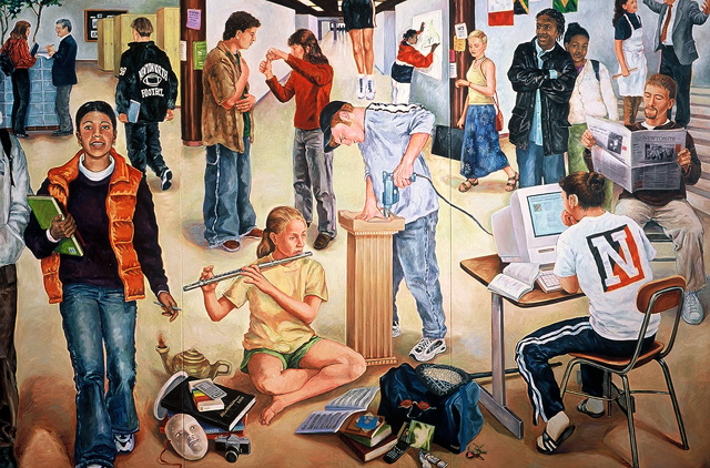 Newton North High School Millennial Mural (detail), 2000, Oil/Canvas on Panel, 10 x 20'